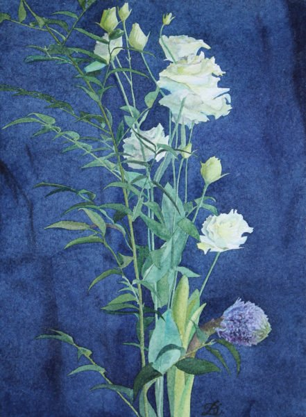 """Laciness Lisianthus on a dark cobalt background» Daria Kirichenko. Graphics & art"
